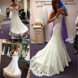 Wholesale Mermaid Wedding Dresses Sweetheart Neckline - Mermaid Full Lace Wedding Dresses Crystal Beaded Sash Sweep Train Country Beach Lace Bridal Gowns Plus Size Sweetheart Neckline New Arrival
