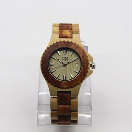 Wholesale Naturals Digital Clock - TJW BWE2017 Luxury Brand Wood Watch Men Analog Natural Quartz Movement Date Male Wristwatches Clock Relogio Masculino