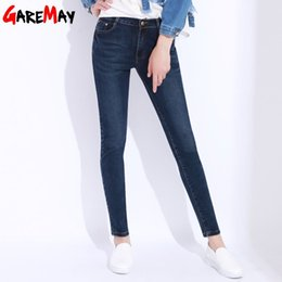 Wholesale Jean Thick - Jeans Female Pants High Waist Plus Size Denim Pant Skinny Jeans Woman Cotton Thick Jean For Women Elastic Pencil Pants GAREMAY