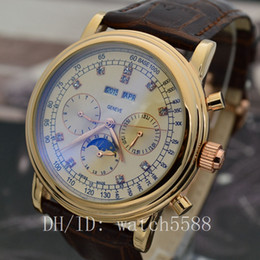 Wholesale Moon Cases - New gold case luxury men's automatic mechanical style movement sun and moon stars series of luxury watches through the bottom Wristwatches