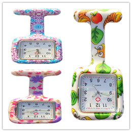 Wholesale Digital Fob Watches - New Colorful Prints Nurse watch Silicone Pocket Watches Square Doctor Watch Fob Quartz Watch Kids Gift Watches 2000pcs