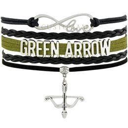 Wholesale Green Arrow Leather - Custom-Infinity Love Green Arrow Canary Charm Multilayer Wrap Bracelets Best Gift Green Black Leather Hunting Bracelets Fashion Jewelry