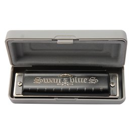 Wholesale Black Swan Free - Wholesale-2016 New swan black 10 hole blues harmonica Key of C free shipping