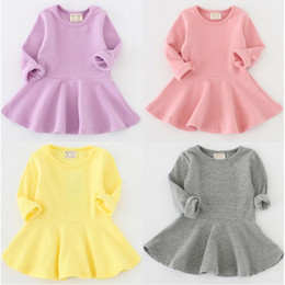 Wholesale Korean Fashion Skirt Long - Baby Dress Casual Long Sleeve Soft Korean Fashion Ruffle Children Clothing Princess Dresses Boutique Skirt For Winter Autumn