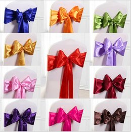 Wholesale Satin Chair Sashes Wholesale - self-tie chair sashes covers for wedding satin chair sash chair decorations bowknot sash for party G017