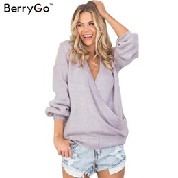 Wholesale Retro Jumpers - Wholesale-BerryGo Sexy long sleeve gray knitted sweater Women autumn winter 2016 loose pullover outerwear Retro v neck jumper pull femme