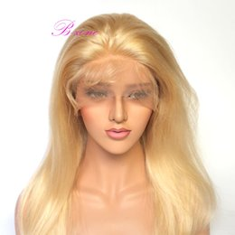 Полный парик шнурка блондинка онлайн-10А класс блондинка полный шнурок человеческих волос парики #613 бразильский человеческих волос передние парики шнурка светлые волосы парики 130% плотность для белых женщин