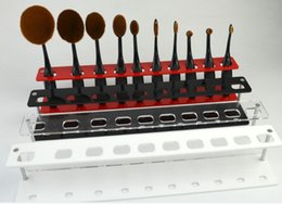 Wholesale Holder Toothbrush Stand - 10 Hole Oval Makeup Brush Holder Spectrum Cosmetic Tools Toothbrush Foundation Brush Display Shelf Stand Rack Organizer For Store Home