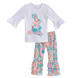 Wholesale Girls Summer Pants - Wholesale- Girls Spring Clothes Set White Top With Bunny Tee Shirts Colorful Vintage Ruffle Pant Kids Clothing Boutique Cotton Outfits E001