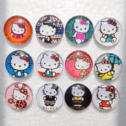 Wholesale Kids Beads For Bracelets - Noosa Hello Kitty Snap Button Jewelry Kids Glass Snap Buttons For Ginger Snap Charm Bracelets 18mm