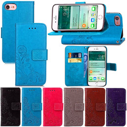 Wholesale Iphone Flip Strap - Embossing Folio Wallet PU Leather Stand Flip Case for iPodTouch5 6, iPhone 4 4s 5 5c 5s SE 6 6s 6s Plus 7 7 Plus with Hand strap