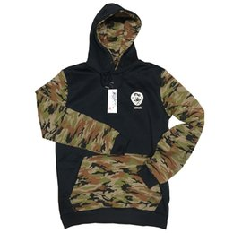 Wholesale Camo Collars - Wholesale-Hoodies Men 2016 Hip Hop Printing Mens Double Pockets Camouflage Patchwork Hooded Sweatshirts Tracksuit Slim Mens Camo Clothes