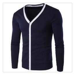 Wholesale Korean Style Cardigan Men - Men's Sweaters Spring&autumn Hit Color Long Sleeves V-neck Men's Korean Style Simple Cardigan Sweaters Coats US Size:XS-L