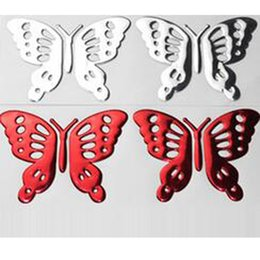 Wholesale Decorated Butterflies - (100 pairs lot) Wholesale 3D PVC Butterfly decal stickers on car bumper stickers decorate stickers car-styling