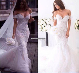 Wholesale Gorgeous Mermaid Beach Wedding Dresses - 2017 Gorgeous Arabic Spring Lace Mermaid Wedding Dresses Ivory Off-shoulder Sweetheart Backless Court Train Wedding Gowns Custom Made Dress