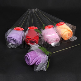 Wholesale Rose Towel Cake - Rose Cotton Towels Gift Package Rose Flower Cake Set Velentine's Day Gift Weeding Party Favor