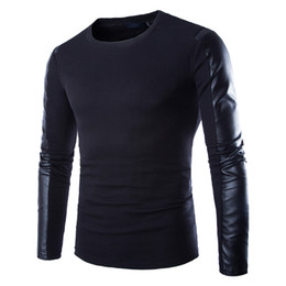 Mens invernale del manicotto del cuoio online-Felpa uomo in pelle nera manica lunga PU Spell in pelle colletto tondo Wear Fitness Compression Shirt Men Pullover Clothing