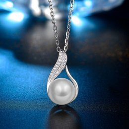 Wholesale Fresh Water Plants - Sterling Silver 18K Gold Plated Fresh Water Pearl Zircon Encrusted Pendant Necklace