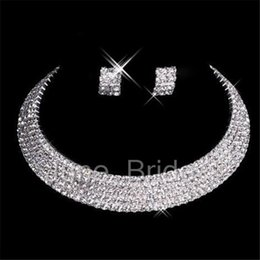 Wholesale Sexy Prom Free - Classic Designer Sexy Men-Made Diamond Earrings Necklace Party Prom Formal Wedding Jewelry Set Bridal Accessories Free Shipping In Stock