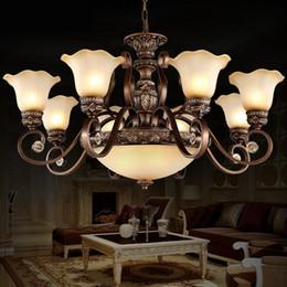 luminaires de peinture Promotion Style Vintage Lustres Éclairage Supprimer Contrôle Peinture Rétro Luminaire Lampe Résine Lustre Lampe Suspension Pour Chambre