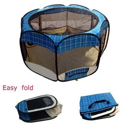 Wholesale Outdoor Tents Dog - New New Medium Blue Grid Pet Dog Cat Tent Playpen Exercise Play Pen Soft Crate