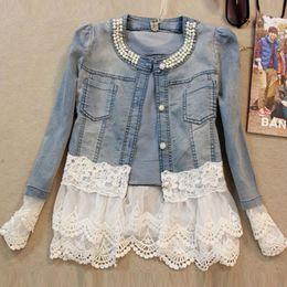 Wholesale Women Jeans Elegant - Jeans Jacket Women Casacos Feminino Slim Lace Patchwork Beading Denim Female Elegant Vintage Jackets Coat