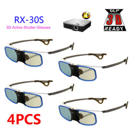 Wholesale Active Shutter Rechargeable 3d Glasses - Wholesale- 4pcs 3D glasses Active shutter rechargeable with Clip for Myope For BenQ W1070 Optoma Acer DLP 3D Emitter Projector Glasses