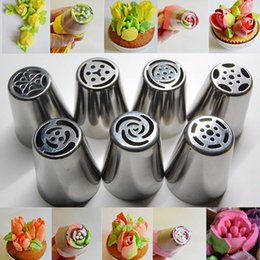 Wholesale Cake Tubes - Stainless Steel Russian Tulip Nozzles Fondant Icing Piping Tips Pastry Tubes Cake Decorating Tools Rose Flower Shaped OOA1838