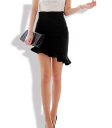 Wholesale Tighter Waist Ruffles - Women Sexy Asymmetry Ruffles Skirt Black Elasticity High Waist Skirts Plus Big Size S-3XL Slim Tight Bias Skirt