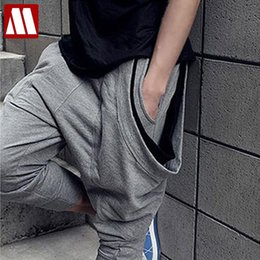 Wholesale Pleated Pants Cropped - Wholesale-Unique flying squirrel three pocket baggy pants men,mens harem pants,Relaxed Cropped Pants ,sweatpants for men,freeshipping ,K89