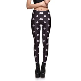 Wholesale Dots Leggings Ladies - Womens Black Polka Dot Slim Fitness Workout Bodycon Leggings For Ladies Digital Printing Casual Active Skinny Elastic Pants 4XL