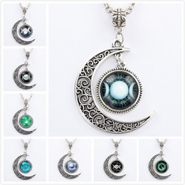 Wholesale Wholesale Goddess Jewelry - Wholesale-Silver Chain Triple Moon Goddess Pendant Black Wiccan jewelry Moon Goddess Necklace Glass Dome Pentagram Choker Necklaces Women
