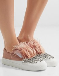 Wholesale Satin Crystal Shoes - Satin Silk Patchwork Women Casual Shoes Furry Feather Rhinestone Embellished Slip-On Flat Loafers Crystal Fur Ladies Shoes Woman