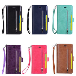 Wholesale Iphone Magnetic Flip Pouch Wallet - 9 Card Slots Back with Zipped Pouch PU Leather Wallet Flip Cellphone Cases Cover Magnetic Closure For iphone 8 7 7 Plus 6 6s 6 plus 6s plus