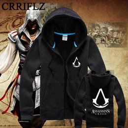 Wholesale Assassin Creeds Costume - Wholesale-Casual Autumn Winter Assassin Creed Cotton Hoodie Sweatshirt Cosplay Costumes klinok assasin Zipper Hoodies Men Shadow IF995