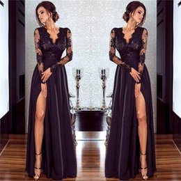Wholesale Deep Neck Shirts - 2018 Black V Neck Sheer Long Sleeves Satin Evening Dresses Lace Top Split A Line Party Prom Dresses