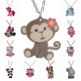 "Wholesale Horse Gifts Free Shipping - Wholesale-[$5 Minimum]Fashion Girls Kids Gift Jewelry Cute Monkey Horse Owl Pendant 16"" Short Chain Necklace Free Shipping KS133"