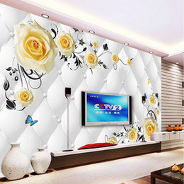 Wholesale roses wallpaper home decor - Custom Any Size Photo Background Wallpapers Butterfly Flower Art Wall Covering BedRoom Murals Modern WallPaper Home Decor