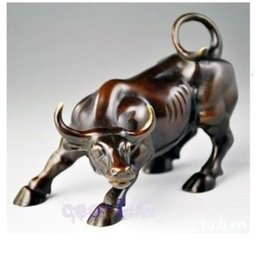 "Wholesale Blue Metal Wall Art - 5.5"" Big Wall Street Bronze Fierce Bull OX Statue"