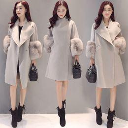 Wholesale Slim Winter Women Wool Coat - Winter Fashion Long Loose Coat Wool Coat Windbreaker