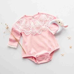 Wholesale Wholesale Organic Baby Rompers - New 2017 Girls Rompers Princess Girl's Romper Toddler One-piece Bodysuit Lace Infant Pure Cotton Long Sleeve Pink Babies Romper A6254