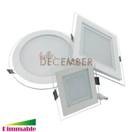 Wholesale Square Crystal Ceiling Lamp - New Dimmable 6W 9W 12W 18W 24W Round Square LED Crystal Panel Light Recessed LED Ceiling Lamps LED Downlight