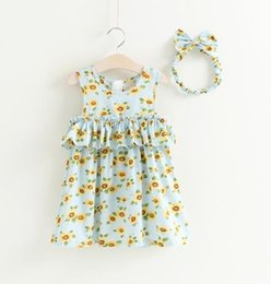 Wholesale Kids Headband Brand - Sweet Girls Floral Vest Dresses with Ruffle 2017 Summer Kids Boutique Clothing Little Girls Sleeveless Dresses with Headband