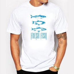 Wholesale Shirts Fish Prints - Summer Men Funny Blue Fresh Fish Freshwater Printed T Shirt Fashion Novelty Short Sleeve Tee Tops Homme Clothes