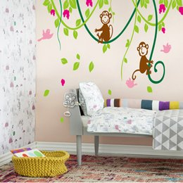 Wholesale Carton Wall Stickers - Carton Wall Sticker decor wallpaper The Monkey Climbing the Tree Funny Stickers for Children's Room free shipping