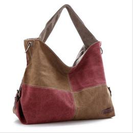 Wholesale Tartan Handbags - Ladies Handbag Casual Tote Canvas Bag Bolsa Feminina Grid Women Canvas Bags Large Messenger Bag Women Patchwork Handbags