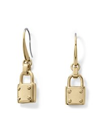 Wholesale 14k white gold hoops - New York Fashion padlock Dangle Earrings letters wedding brand jewelry for women Rose gold Gold Silver