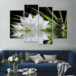 Wholesale Black White Painting Set - 4 Pieces set Canvas Print Flower White Lotus In Black Wall Art Picture with Modern Wall Paintings Modular picture (Unframed)