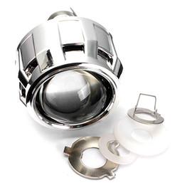Wholesale Halo Headlight Kits - 2.5 Inch RHD Car Motor Mini Bi-xenon HID Projector Lens Angle Eyes Halo Lens Kit Headlight Bulb Shroud
