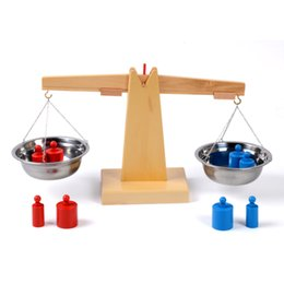 Wholesale Wooden Balance - Wholesale- Baby Toy Montessori Wooden Balance Beam Weighing Scale Sensorial Early Childhood Education Preschool Training Great Gift